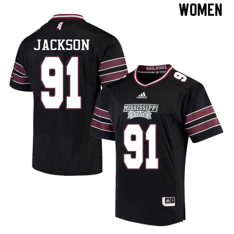 Women #91 James Jackson Mississippi State Bulldogs College Football Jerseys Sale-Black