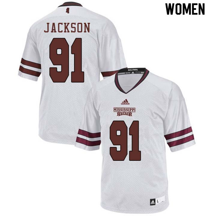 Women #91 James Jackson Mississippi State Bulldogs College Football Jerseys Sale-White