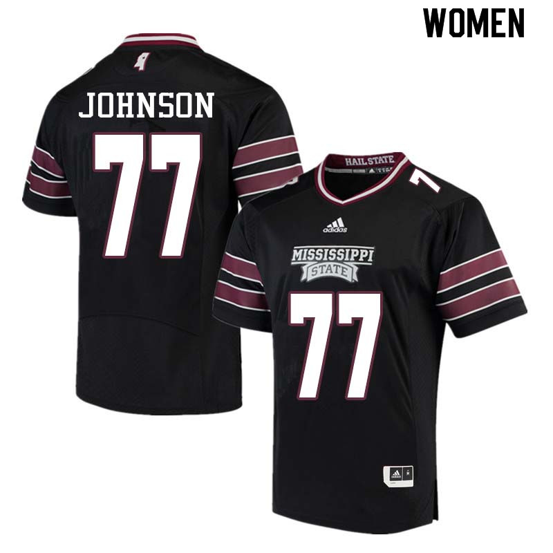 Women #77 Jawon Johnson Mississippi State Bulldogs College Football Jerseys Sale-Black