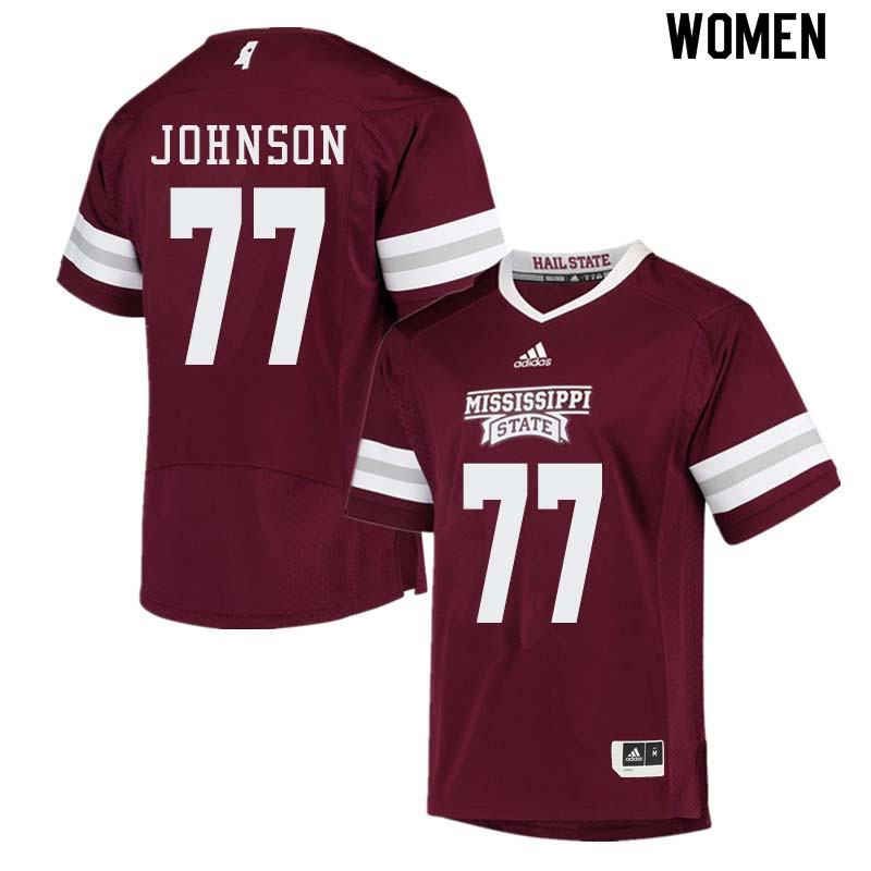 Women #77 Jawon Johnson Mississippi State Bulldogs College Football Jerseys Sale-Maroon