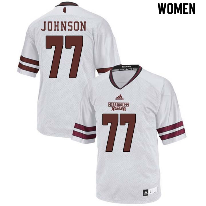 Women #77 Jawon Johnson Mississippi State Bulldogs College Football Jerseys Sale-White