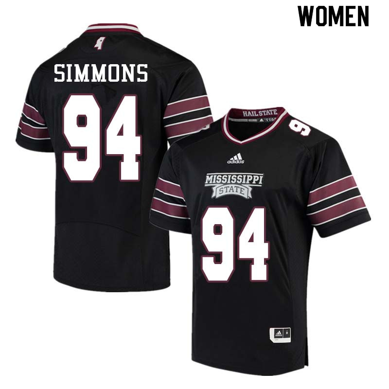 Women #94 Jeffery Simmons Mississippi State Bulldogs College Football Jerseys Sale-Black