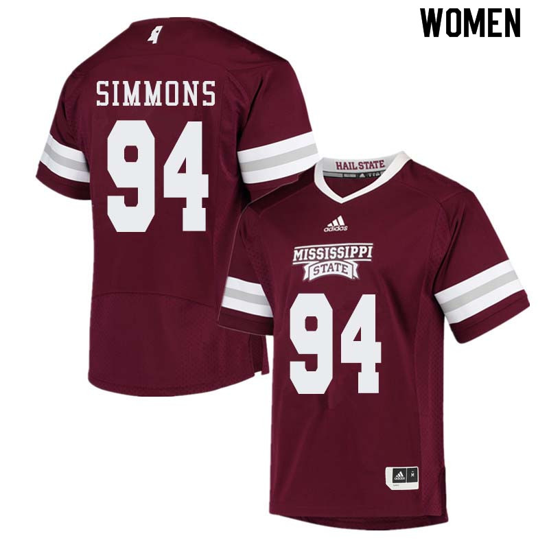 Women #94 Jeffery Simmons Mississippi State Bulldogs College Football Jerseys Sale-Maroon