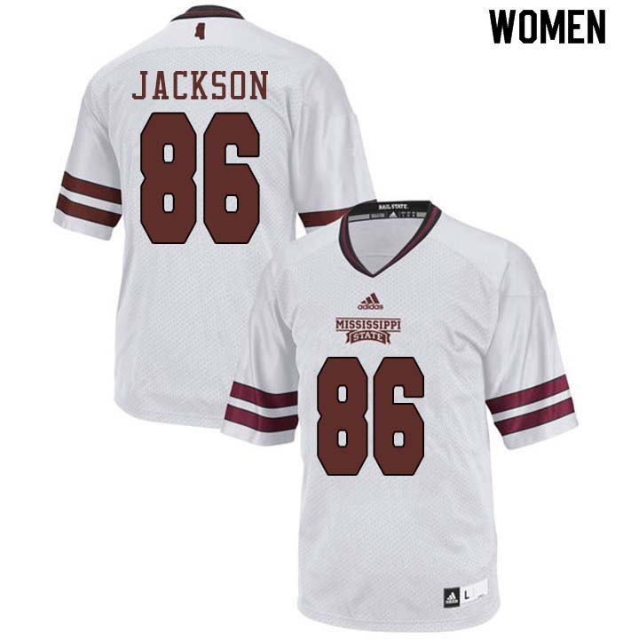 Women #86 Jesse Jackson Mississippi State Bulldogs College Football Jerseys Sale-White