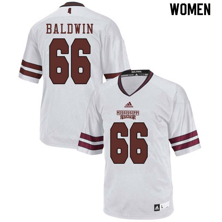 Women #66 Joel Baldwin Mississippi State Bulldogs College Football Jerseys Sale-White