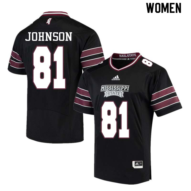 Women #81 Justin Johnson Mississippi State Bulldogs College Football Jerseys Sale-Black