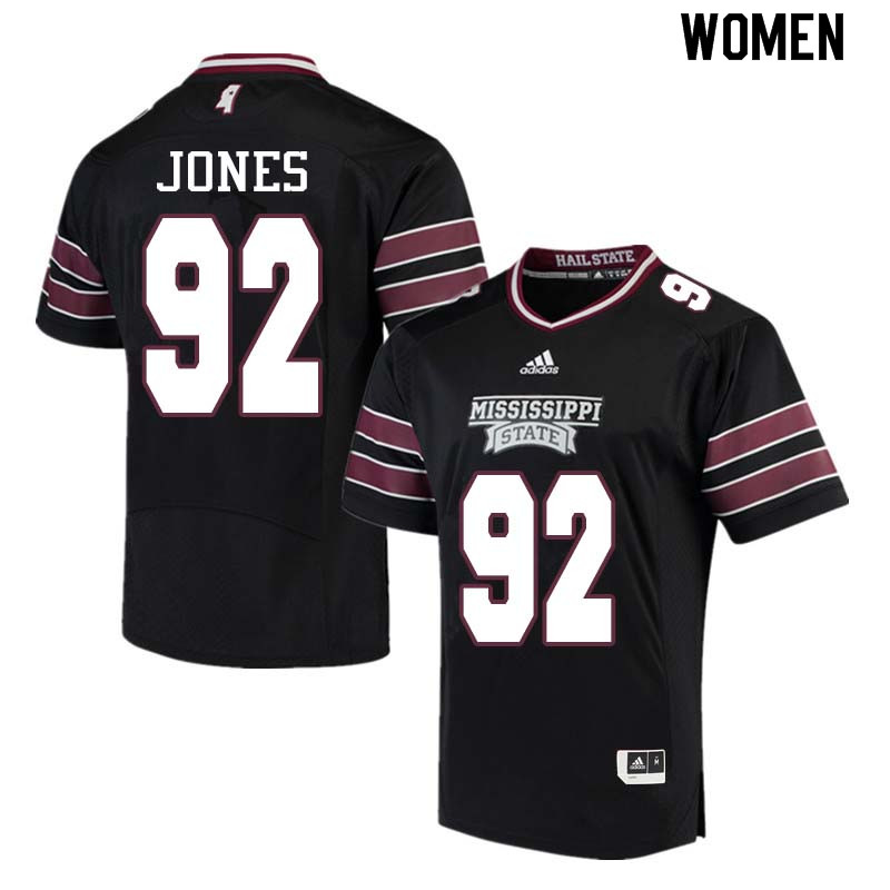 Women #92 Kendell Jones Mississippi State Bulldogs College Football Jerseys Sale-Black