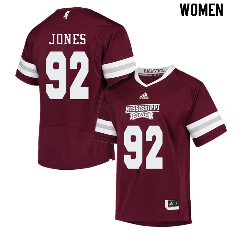 Women #92 Kendell Jones Mississippi State Bulldogs College Football Jerseys Sale-Maroon