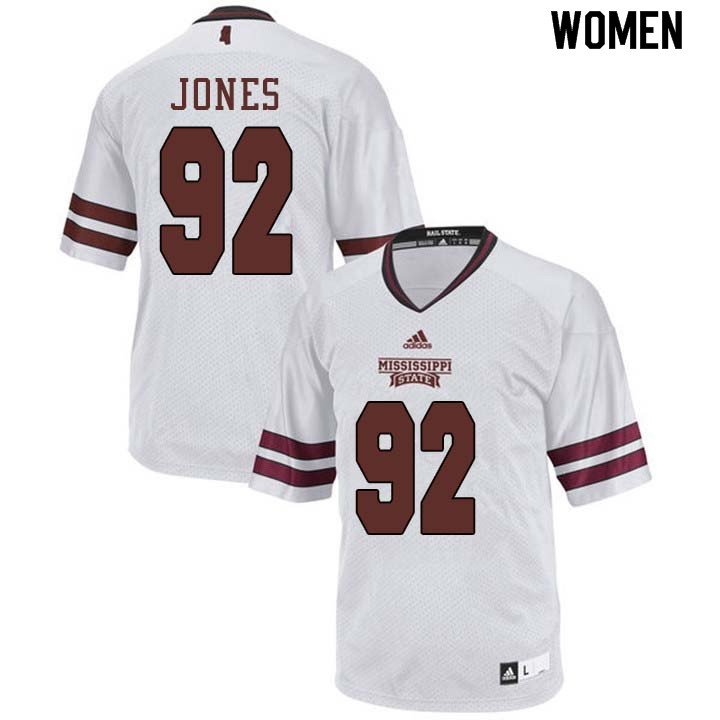 Women #92 Kendell Jones Mississippi State Bulldogs College Football Jerseys Sale-White