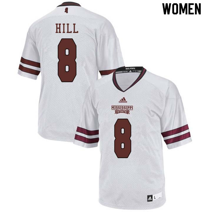Women #8 Kylin Hill Mississippi State Bulldogs College Football Jerseys Sale-White