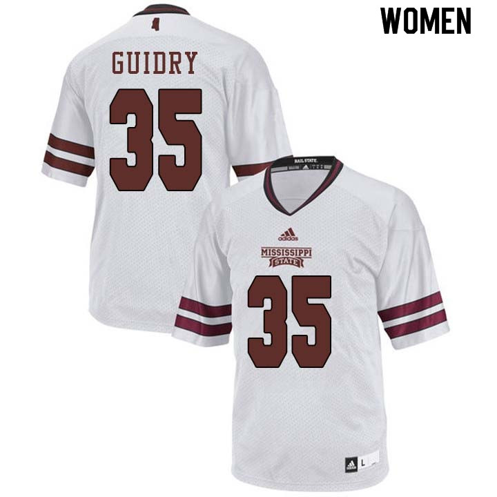 Women #35 Landon Guidry Mississippi State Bulldogs College Football Jerseys Sale-White
