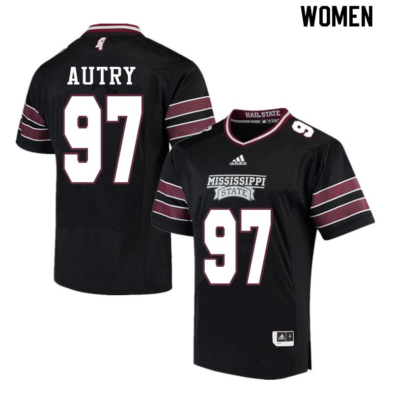 Women #97 Lee Autry Mississippi State Bulldogs College Football Jerseys Sale-Black