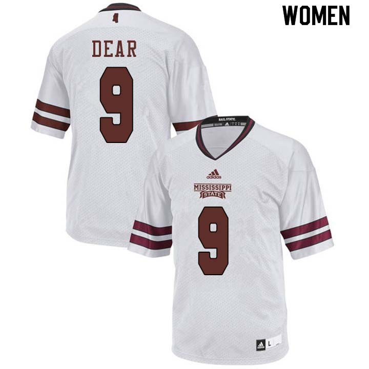 Women #9 Malik Dear Mississippi State Bulldogs College Football Jerseys Sale-White