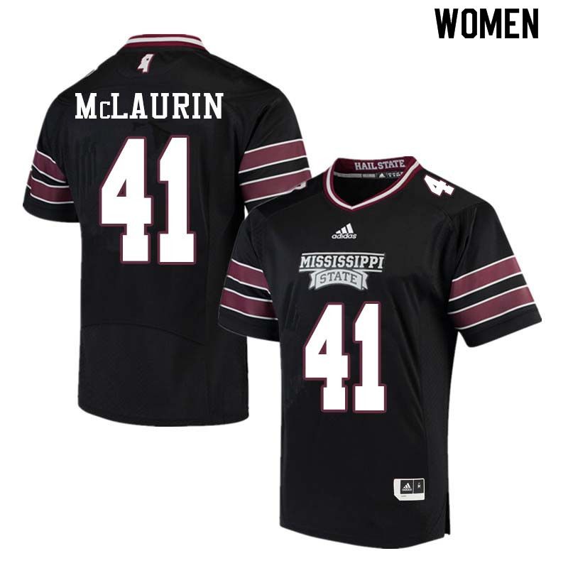 Women #41 Mark McLaurin Mississippi State Bulldogs College Football Jerseys Sale-Black