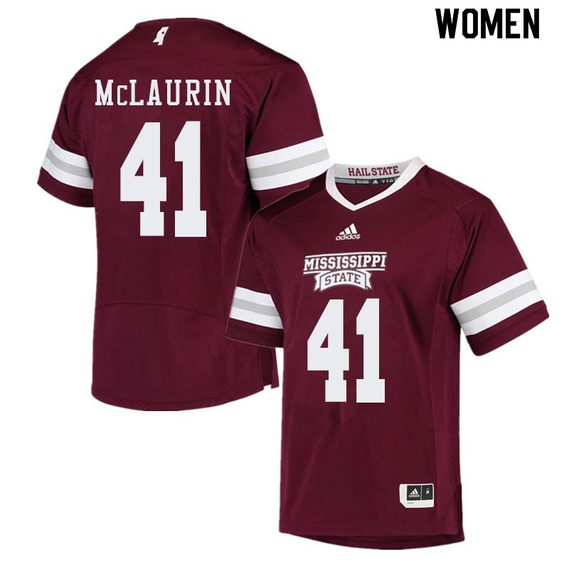 Women #41 Mark McLaurin Mississippi State Bulldogs College Football Jerseys Sale-Maroon
