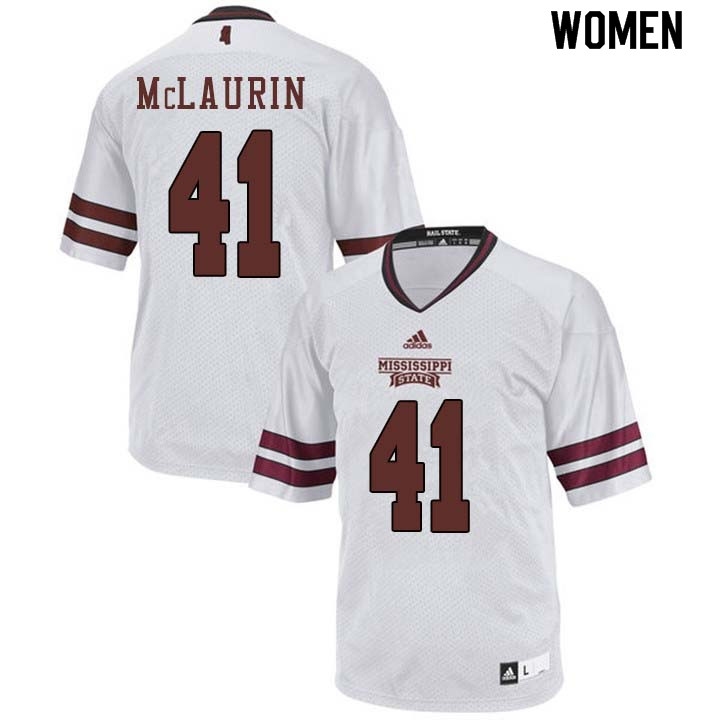 Women #41 Mark McLaurin Mississippi State Bulldogs College Football Jerseys Sale-White