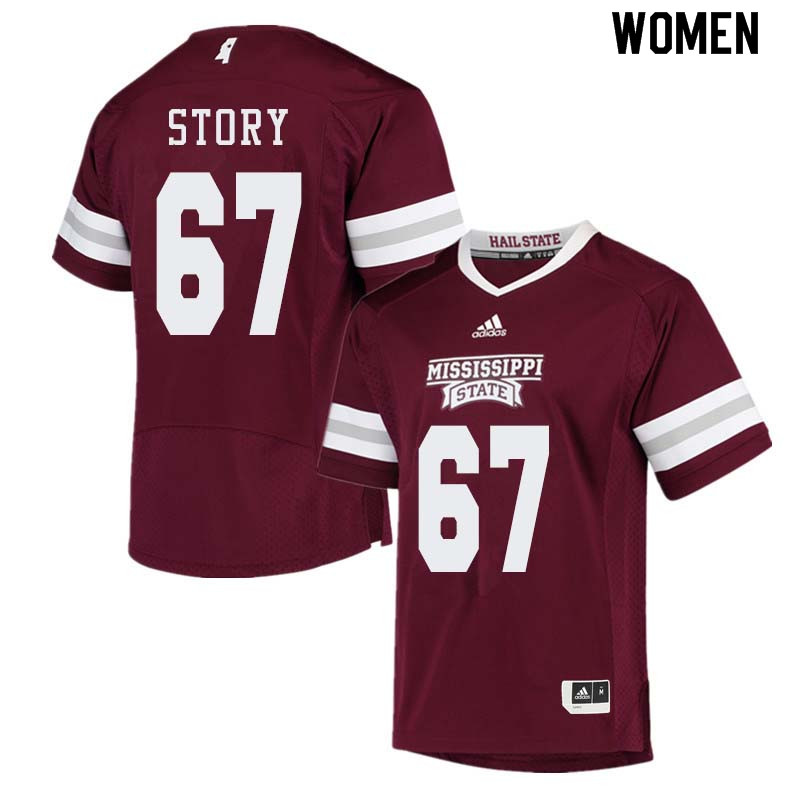Women #67 Michael Story Mississippi State Bulldogs College Football Jerseys Sale-Maroon