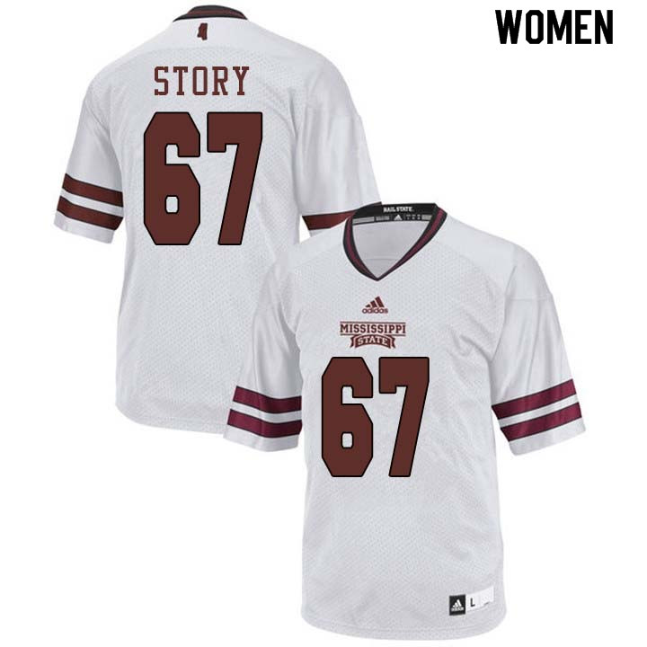 Women #67 Michael Story Mississippi State Bulldogs College Football Jerseys Sale-White