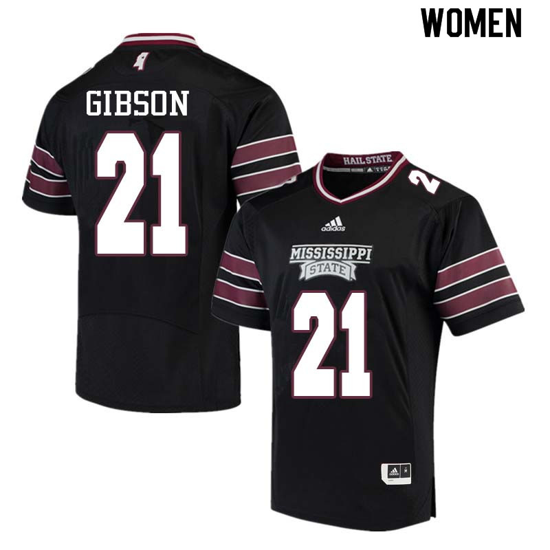 Women #21 Nick Gibson Mississippi State Bulldogs College Football Jerseys Sale-Black