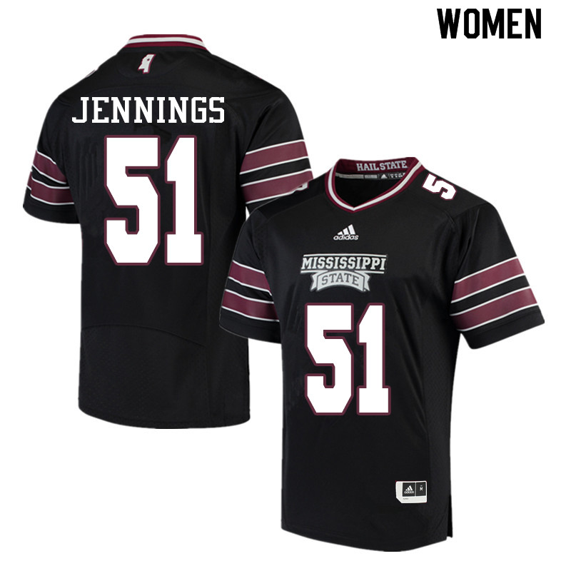 Women #51 R.J. Jennings Mississippi State Bulldogs College Football Jerseys Sale-Black