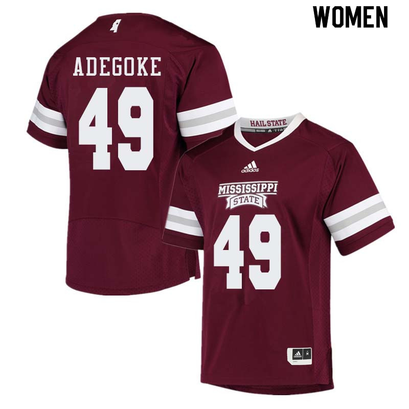 Women #49 Stephen Adegoke Mississippi State Bulldogs College Football Jerseys Sale-Maroon