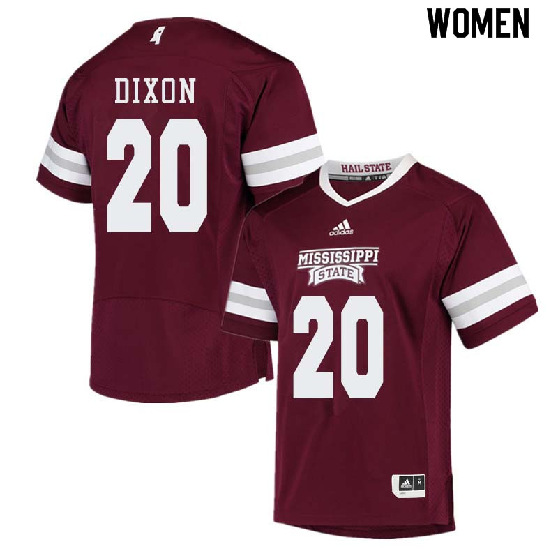 Women #20 Taury Dixon Mississippi State Bulldogs College Football Jerseys Sale-Maroon