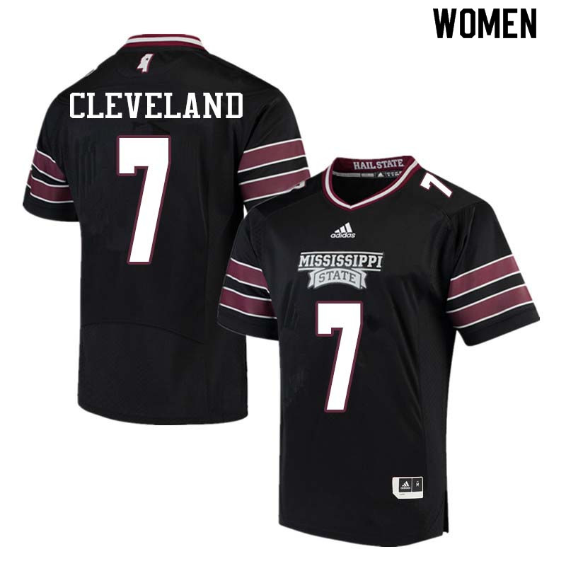 Women #7 Tolando Cleveland Mississippi State Bulldogs College Football Jerseys Sale-Black