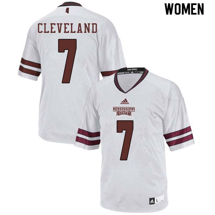 Women #7 Tolando Cleveland Mississippi State Bulldogs College Football Jerseys Sale-White