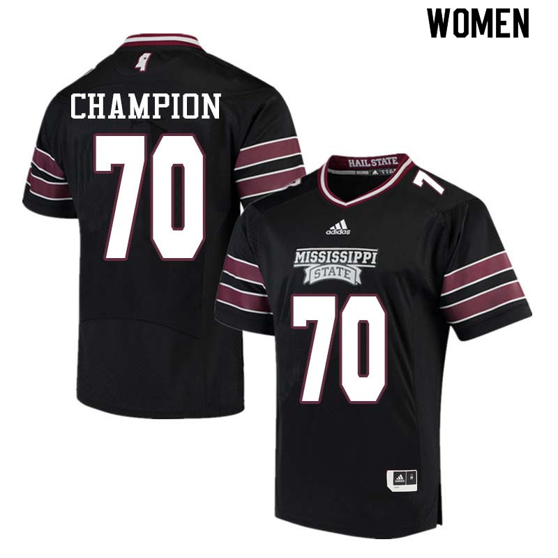 Women #70 Tommy Champion Mississippi State Bulldogs College Football Jerseys Sale-Black