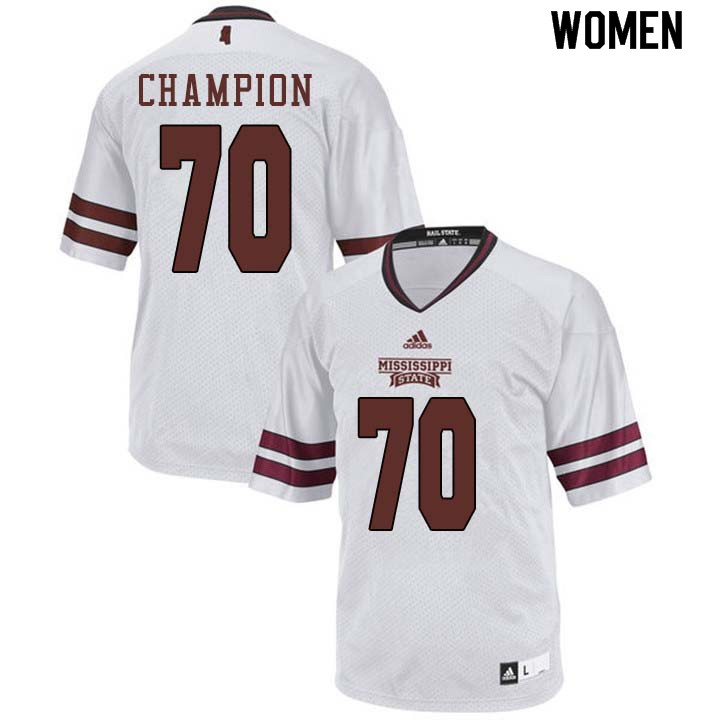 Women #70 Tommy Champion Mississippi State Bulldogs College Football Jerseys Sale-White