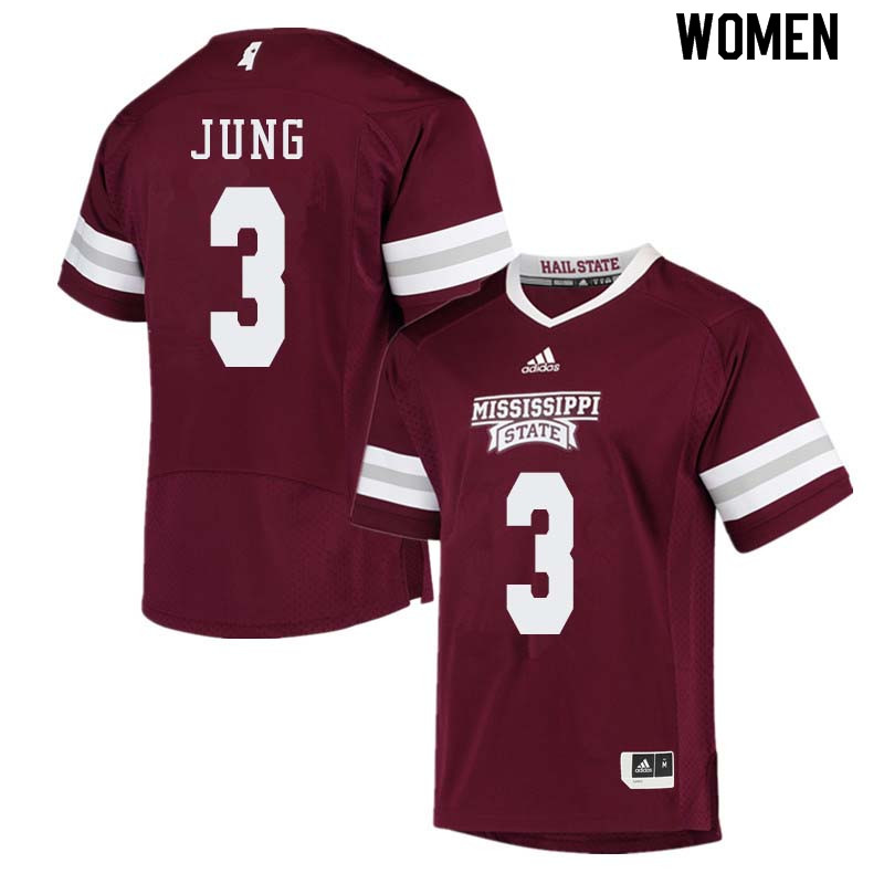 Women #3 Traver Jung Mississippi State Bulldogs College Football Jerseys Sale-Maroon
