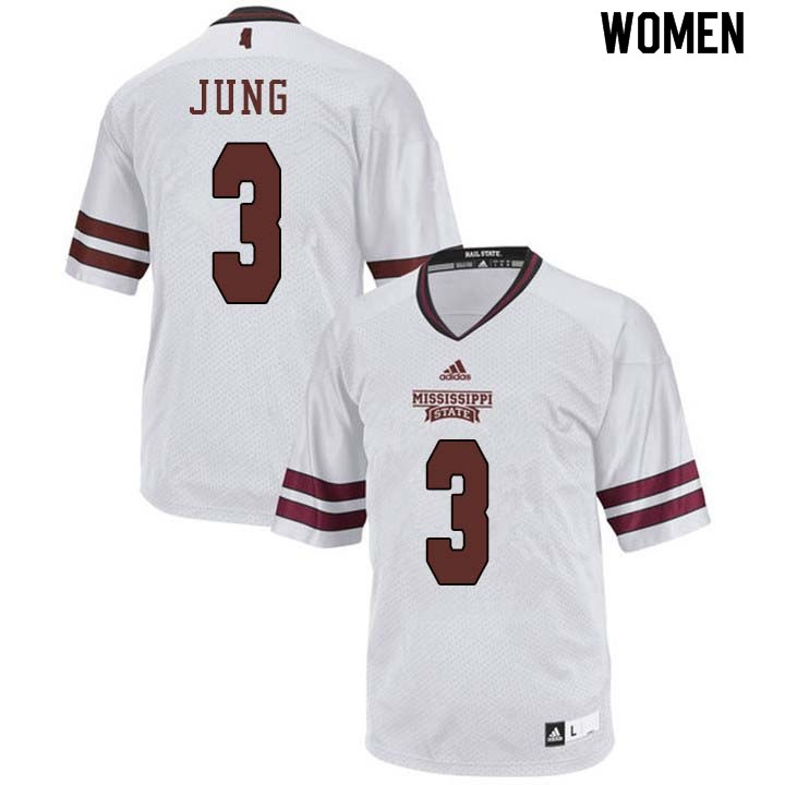 Women #3 Traver Jung Mississippi State Bulldogs College Football Jerseys Sale-White