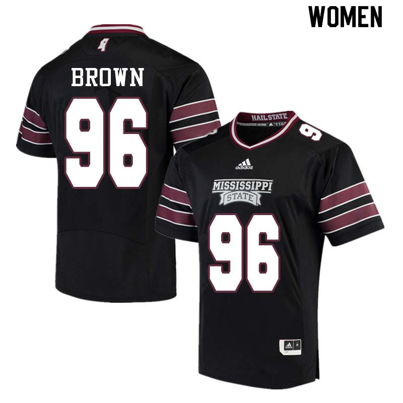 Women #96 Tre Brown Mississippi State Bulldogs College Football Jerseys Sale-Black
