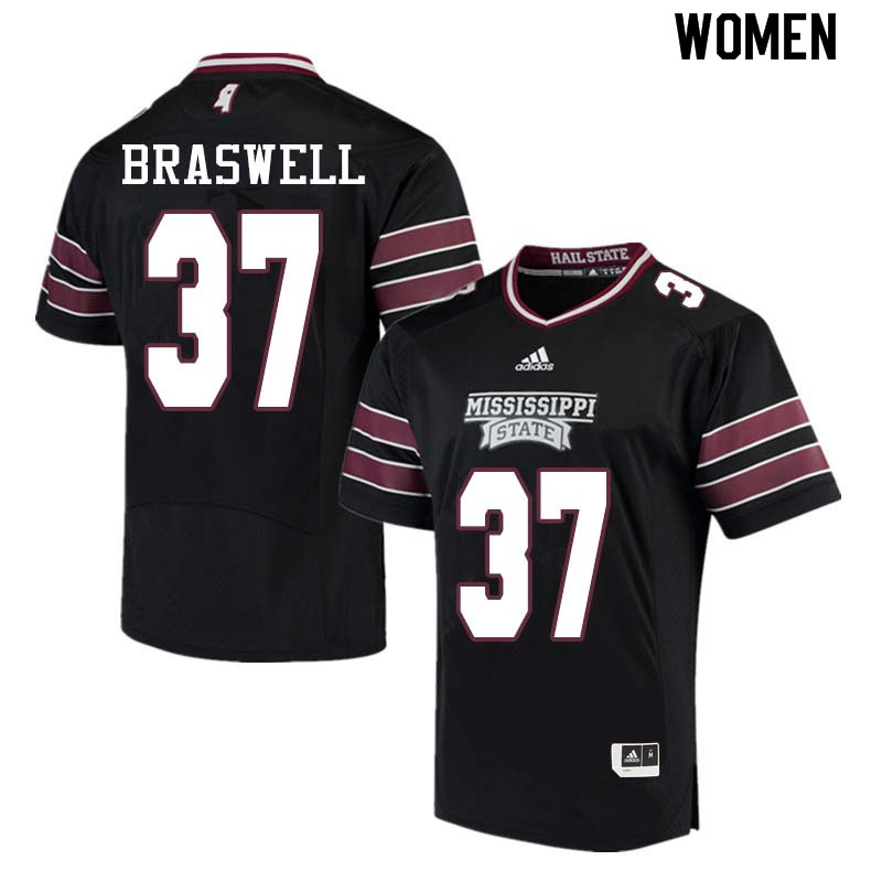Women #37 Trey Braswell Mississippi State Bulldogs College Football Jerseys Sale-Black