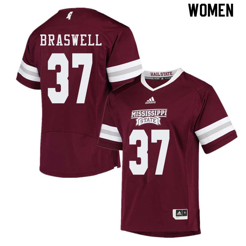 Women #37 Trey Braswell Mississippi State Bulldogs College Football Jerseys Sale-Maroon