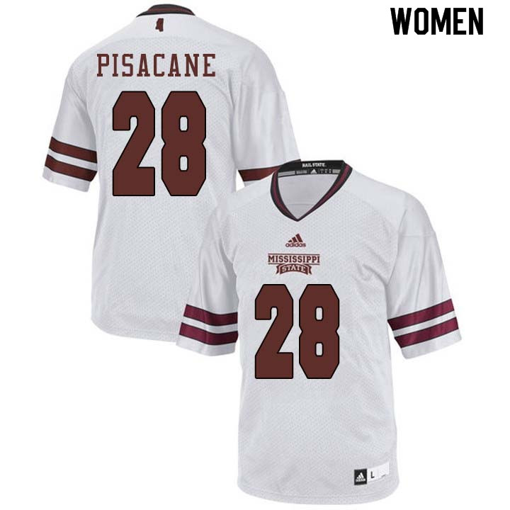 Women #28 Tristan Pisacane Mississippi State Bulldogs College Football Jerseys Sale-White