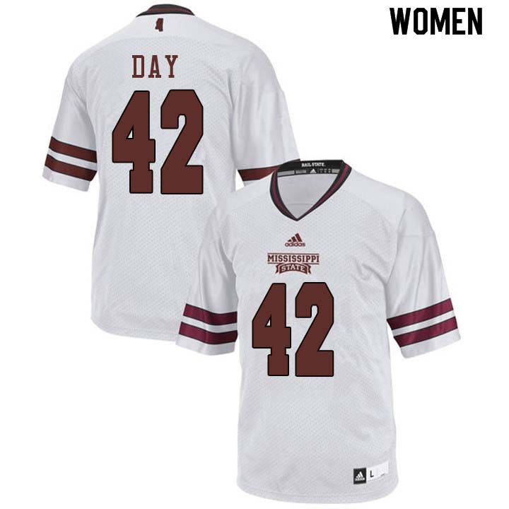 Women #42 Tucker Day Mississippi State Bulldogs College Football Jerseys Sale-White