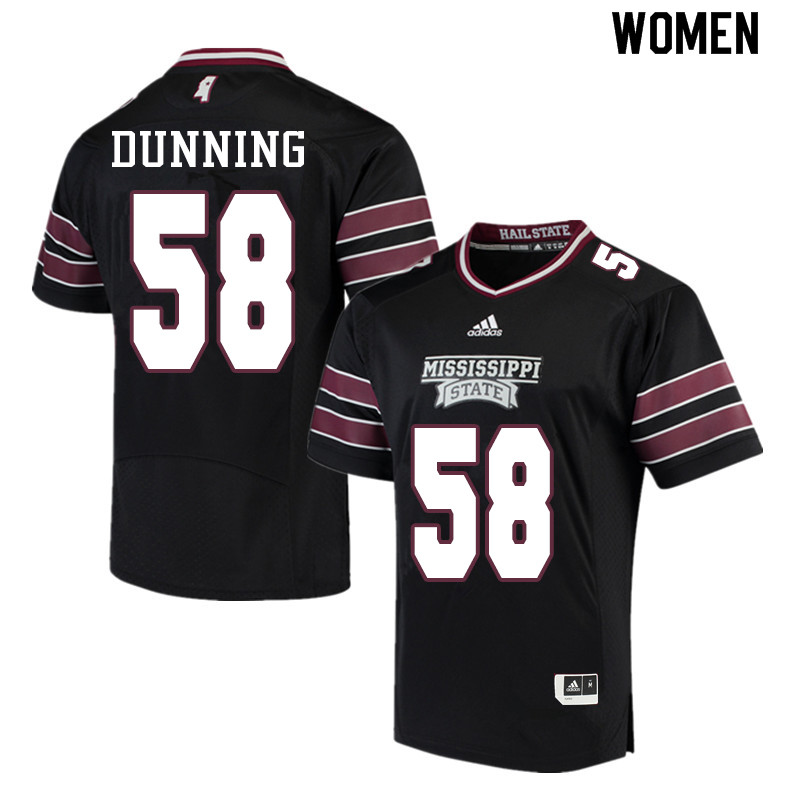 Women #58 Tyler Dunning Mississippi State Bulldogs College Football Jerseys Sale-Black