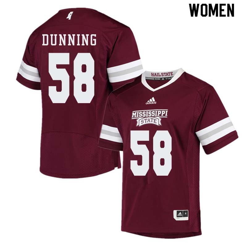 Women #58 Tyler Dunning Mississippi State Bulldogs College Football Jerseys Sale-Maroon