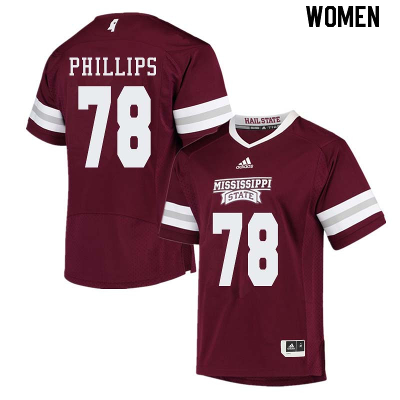 Women #78 Tyre Phillips Mississippi State Bulldogs College Football Jerseys Sale-Maroon