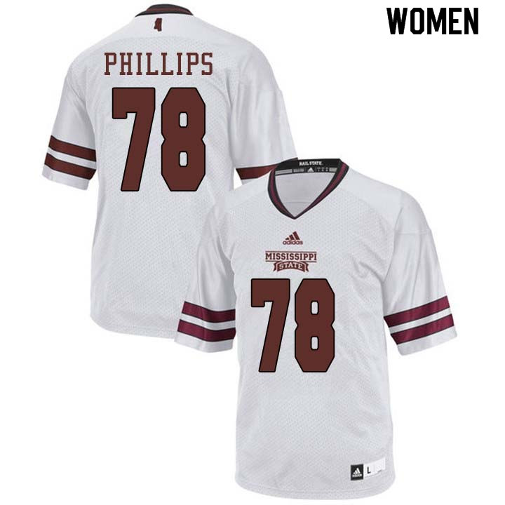 Women #78 Tyre Phillips Mississippi State Bulldogs College Football Jerseys Sale-White