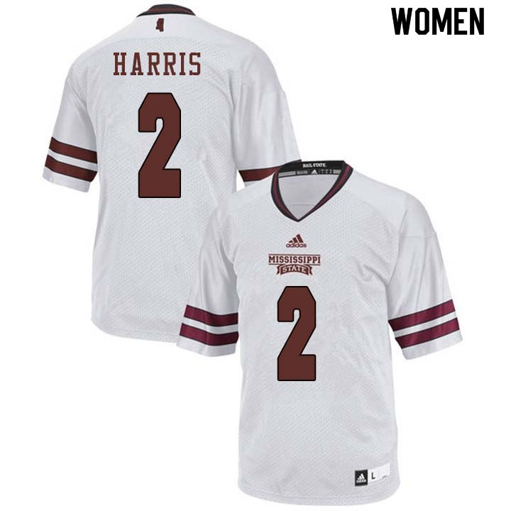 Women #2 Walt Harris Mississippi State Bulldogs College Football Jerseys Sale-White