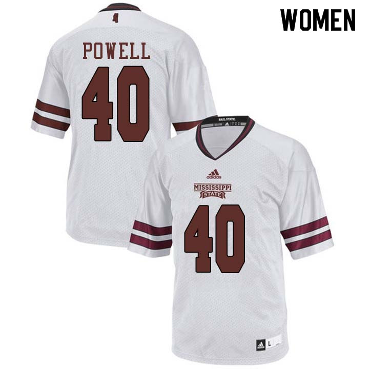 Women #40 Wyatt Powell Mississippi State Bulldogs College Football Jerseys Sale-White
