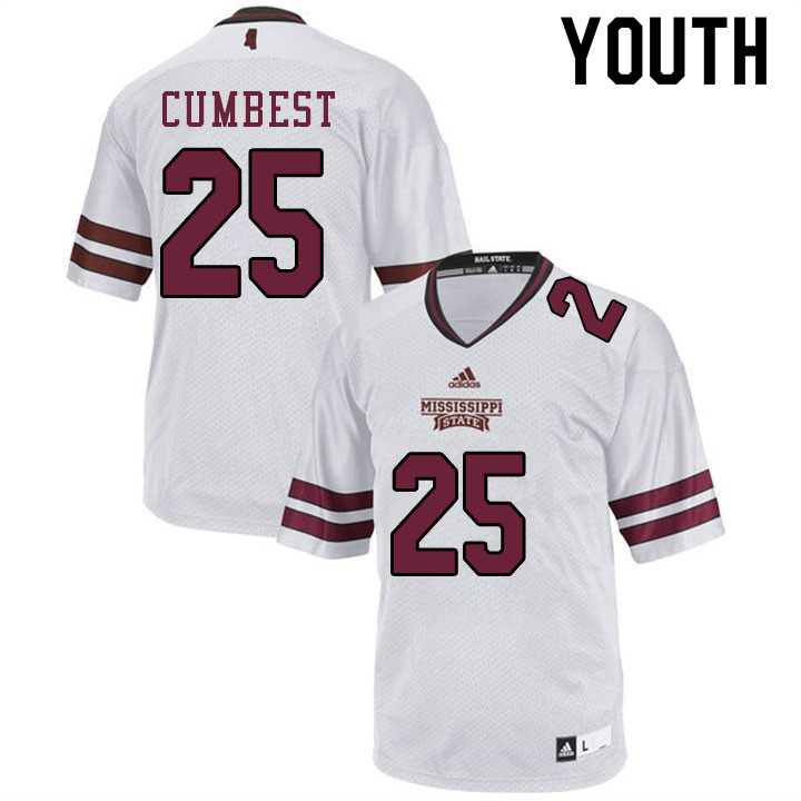 Youth #25 Brad Cumbest Mississippi State Bulldogs College Football Jerseys Sale-White