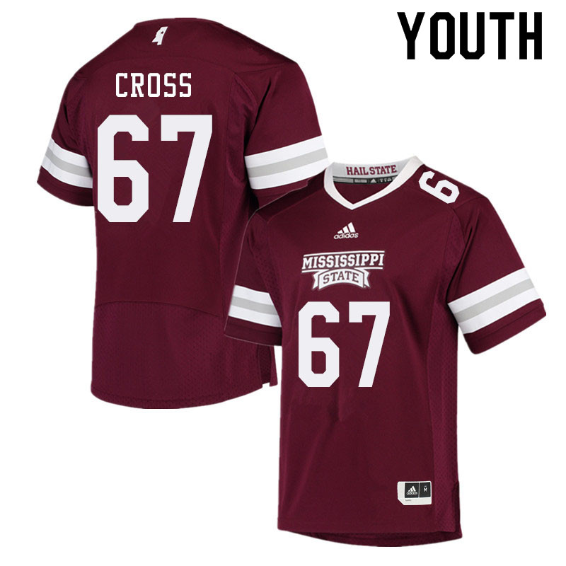 Youth #67 Charles Cross Mississippi State Bulldogs College Football Jerseys Sale-Maroon