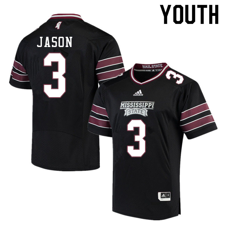 Youth #3 Devonta Jason Mississippi State Bulldogs College Football Jerseys Sale-Black