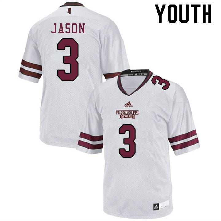 Youth #3 Devonta Jason Mississippi State Bulldogs College Football Jerseys Sale-White
