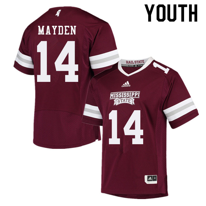 Youth #14 Jalen Mayden Mississippi State Bulldogs College Football Jerseys Sale-Maroon