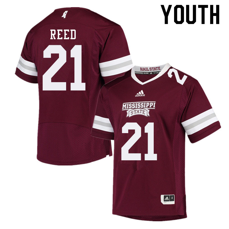 Youth #21 Jaylon Reed Mississippi State Bulldogs College Football Jerseys Sale-Maroon