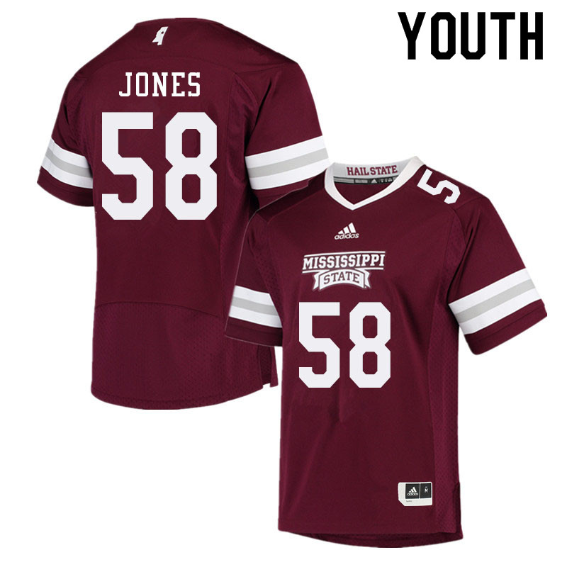 Youth #58 Kameron Jones Mississippi State Bulldogs College Football Jerseys Sale-Maroon
